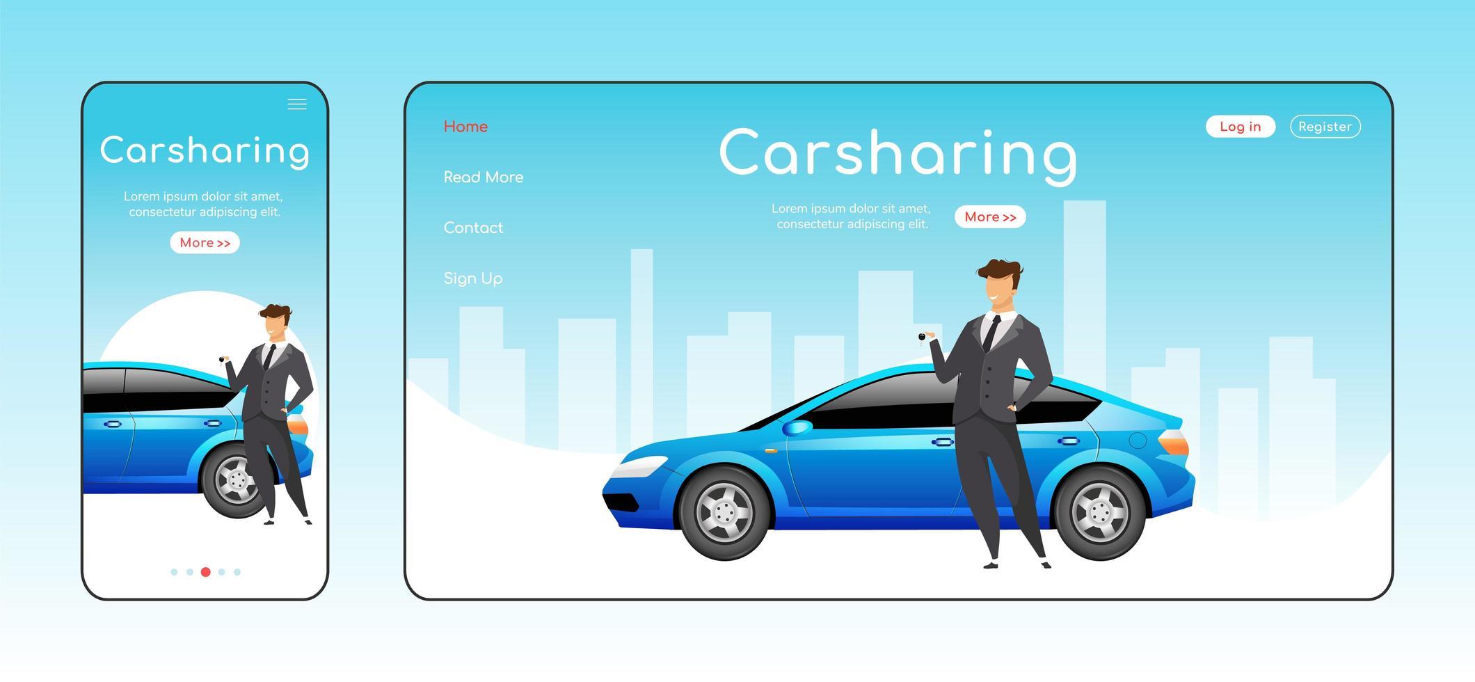 modelo de vetor de cor plana da página de destino responsiva do carsharing