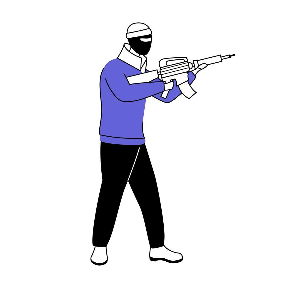 homem em máscara balaclava ilustração em vetor silhueta plana