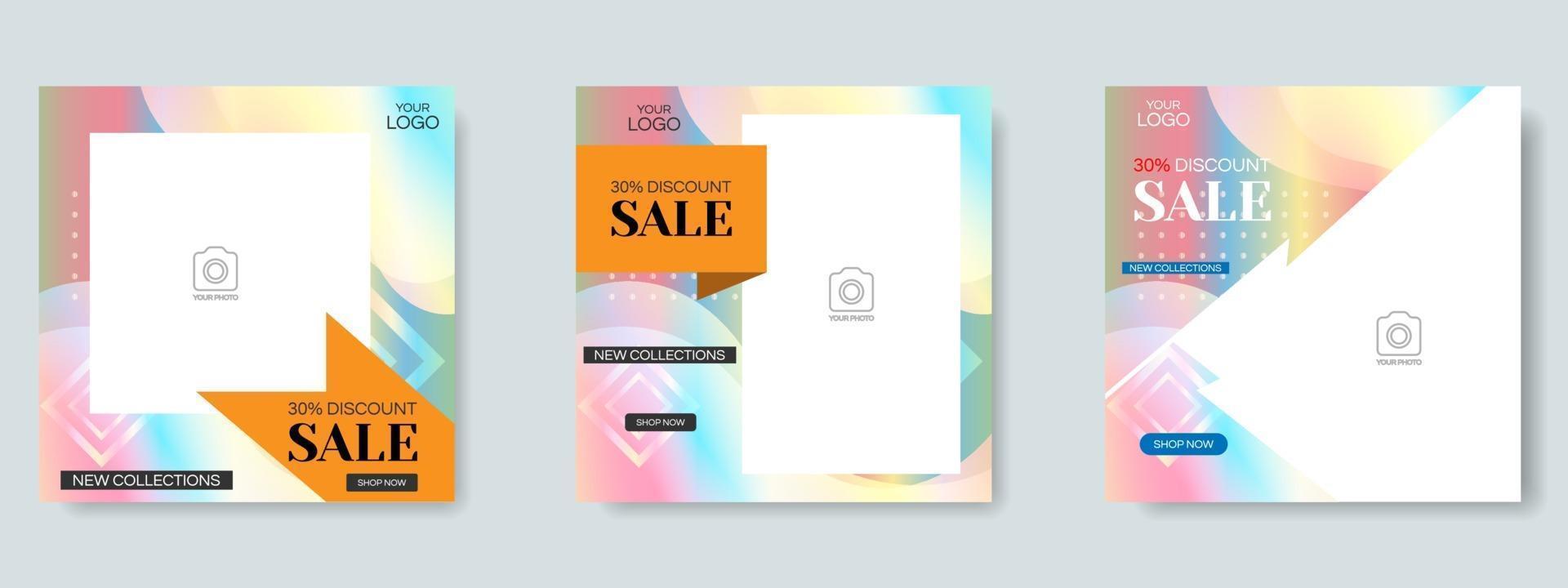 modelo de design de postagem de mídia social de venda de moda. vetor de banner da web