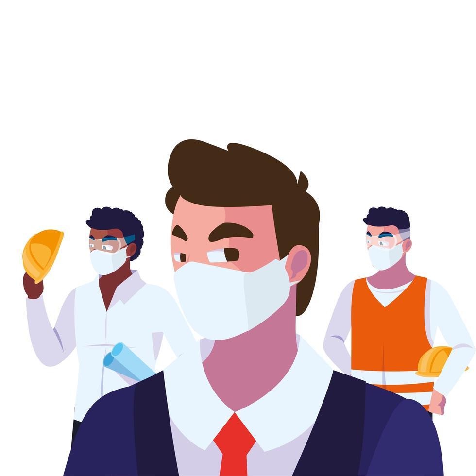 engenheiros e executivos usando máscaras faciais ilustração vetorial design vetor