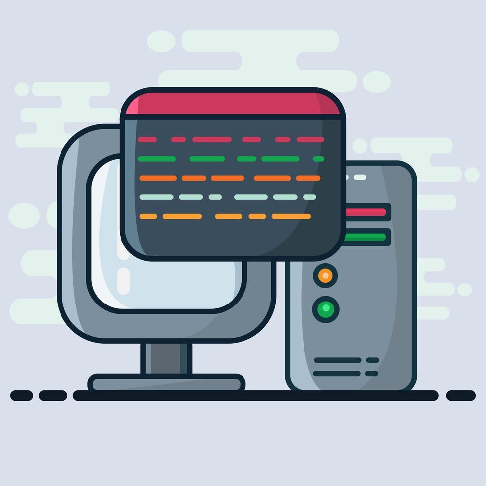 ilustração do conceito de programação de computador em estilo simples vetor
