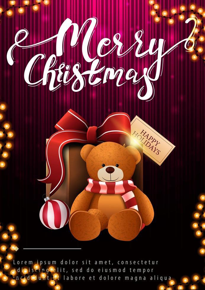 Feliz Natal, postal vertical com presente e ursinho de pelúcia em fundo escuro e rosa vetor