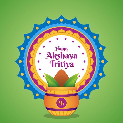 Celebração de Akshaya Tritiya com uma ilustração dourada de Kalash vetor