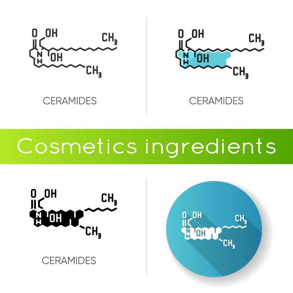 ícone de ceramida. estrutura esquelética química. fórmula científica. vetor