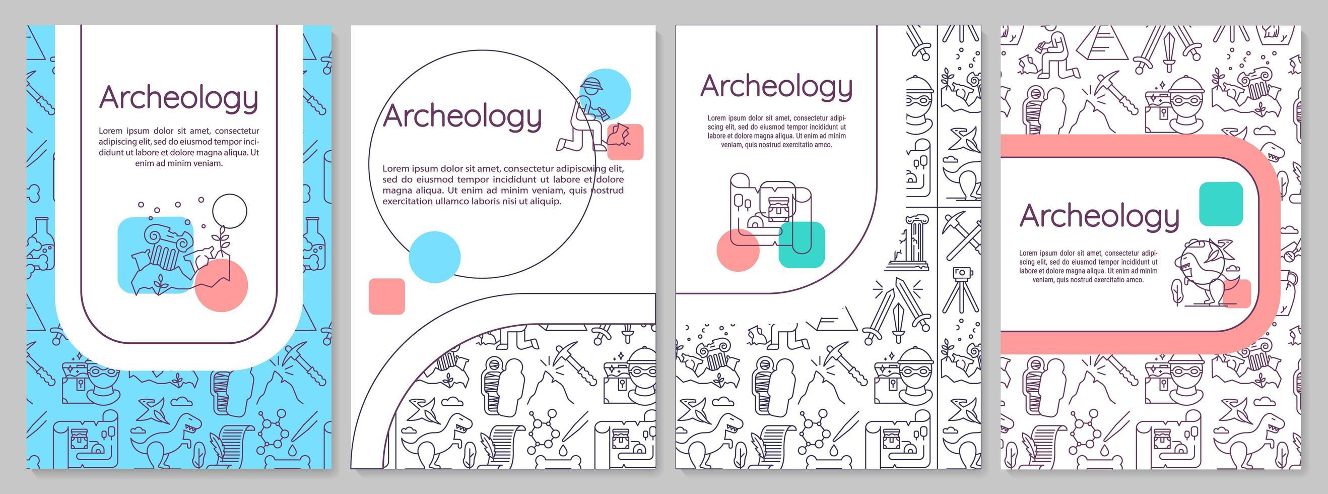 modelo de folheto de arqueologia. paleontologia e história. folheto, livreto, impressão de folheto, design da capa com ícones lineares. vetor