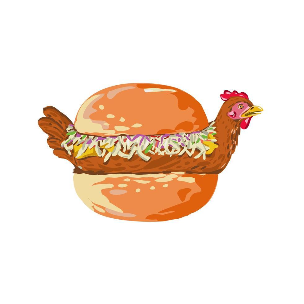 pássaro em sanduíche de pão retrô vetor