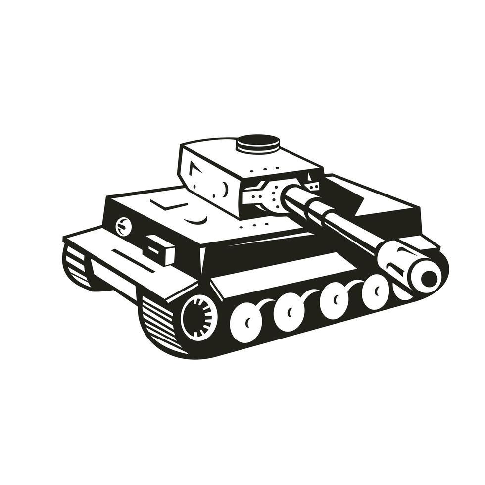 tanque panzer alemão da segunda guerra mundial preto e branco retro vetor