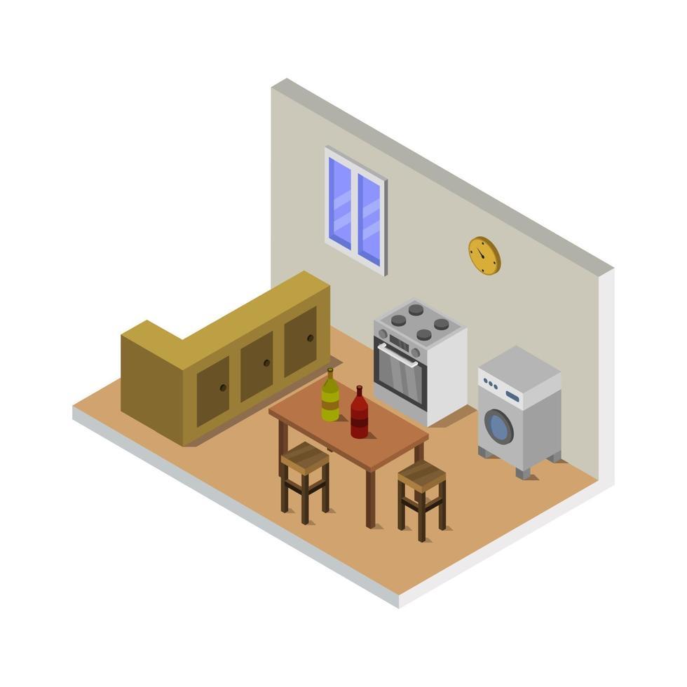 cozinha isométrica em fundo branco vetor