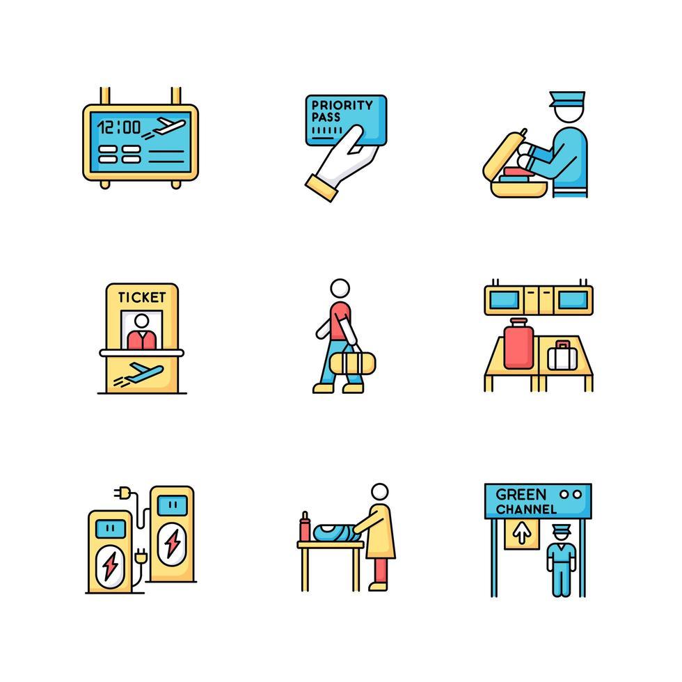 conjunto de ícones de cores rgb do terminal do aeroporto. painel de informações de voo. passe de prioridade. segurança verificar bagagem. passagem de avião. processo de embarque de passageiros. ilustrações vetoriais isoladas vetor