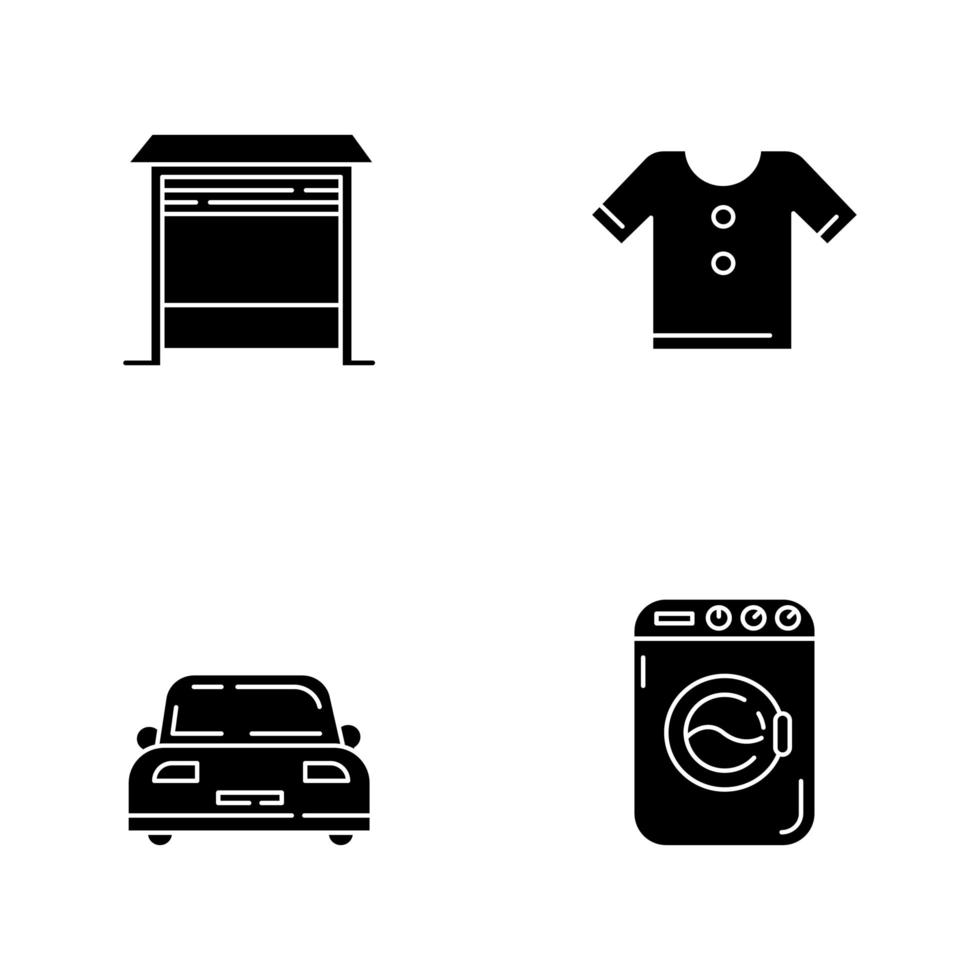 ícones de glifo preto doméstico definidos no espaço em branco vetor