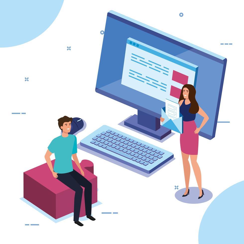 casal de negócios com computador desktop vetor