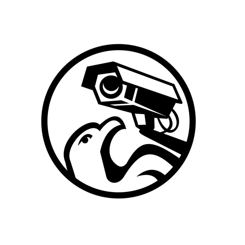 águia e câmera de vigilância de segurança círculo preto e branco vetor
