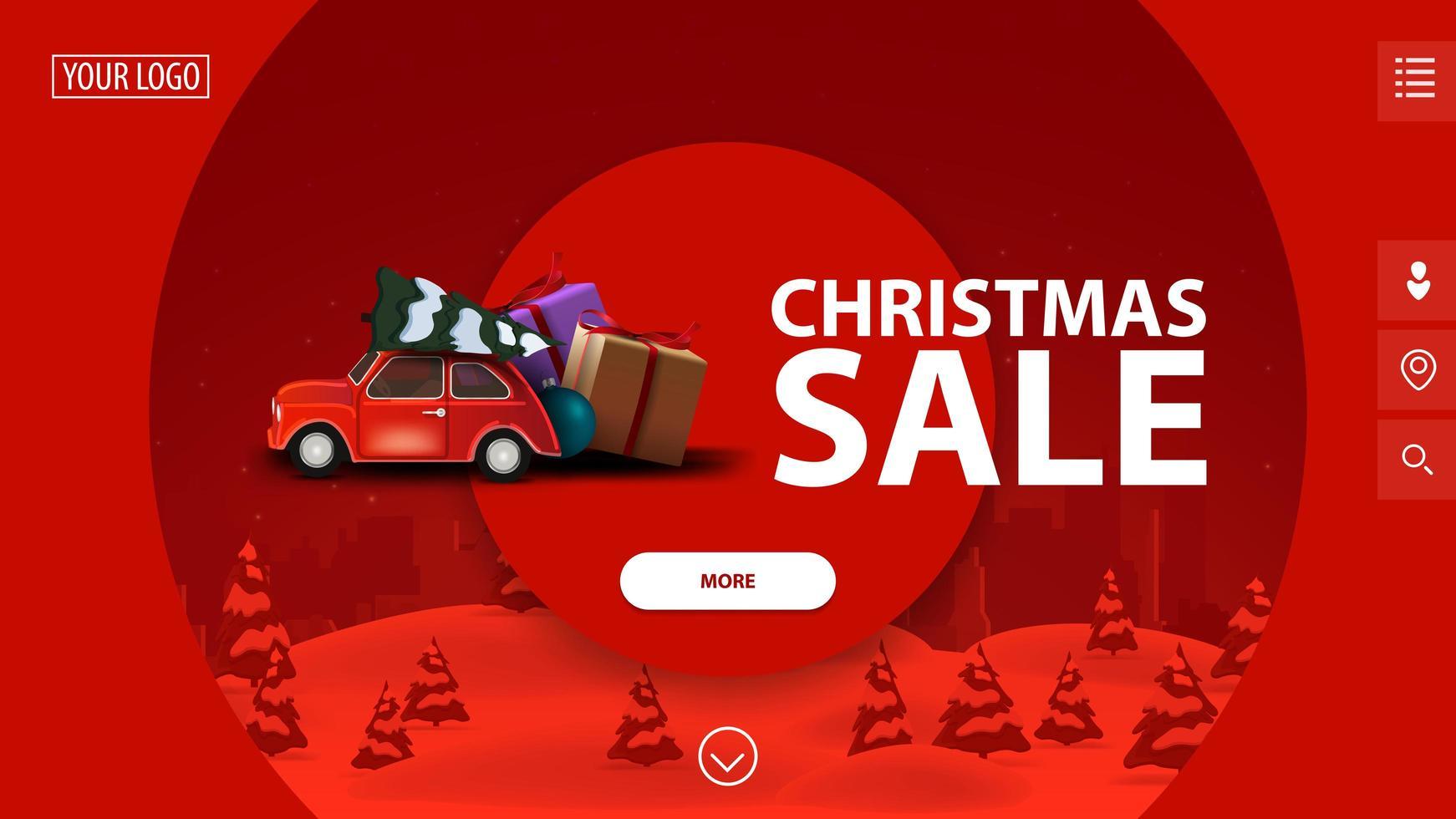 liquidação de natal, lindo banner vermelho moderno de desconto com grandes círculos decorativos, paisagem de inverno no fundo e carro vintage vermelho carregando árvore de natal vetor