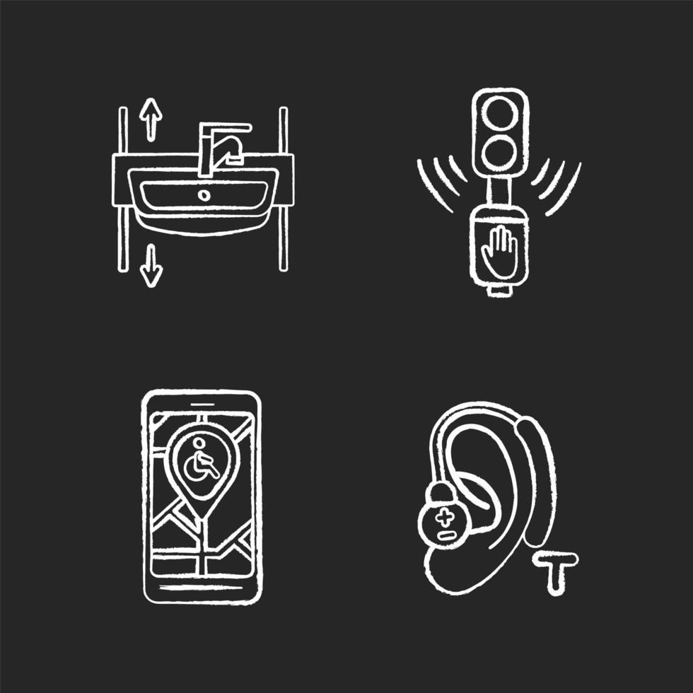 dispositivos de acessibilidade ícones de giz branco em fundo preto vetor