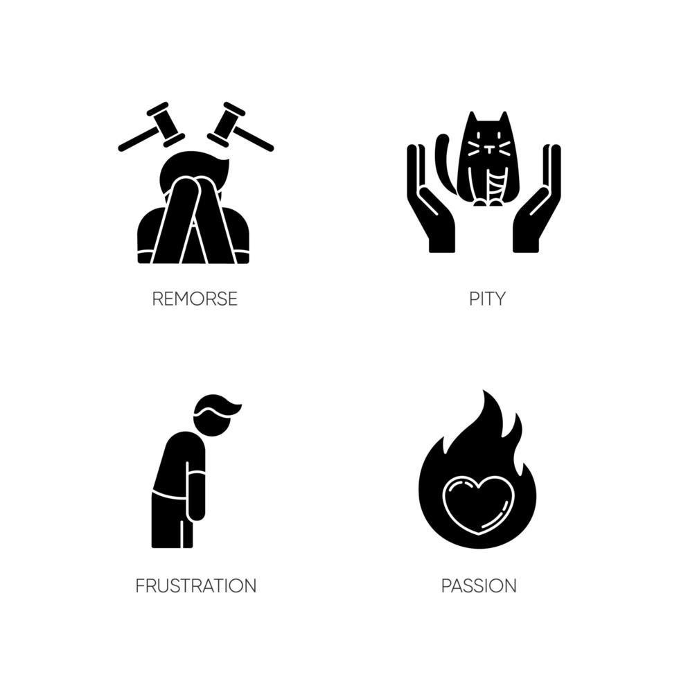 ícones de glifo preto de emoção humana definidos no espaço em branco vetor