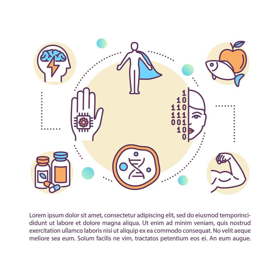 ícone do conceito de body hacking com texto vetor