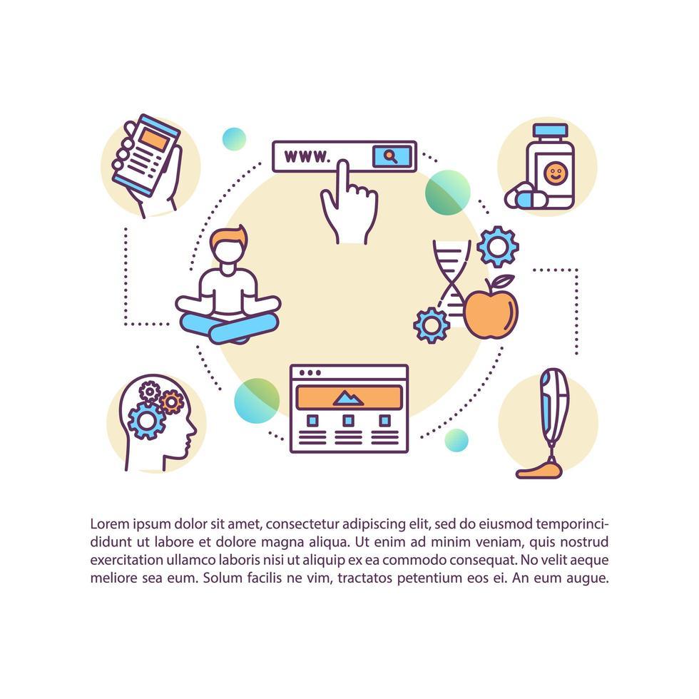 Ícone do conceito de técnicas de biohacking com texto vetor