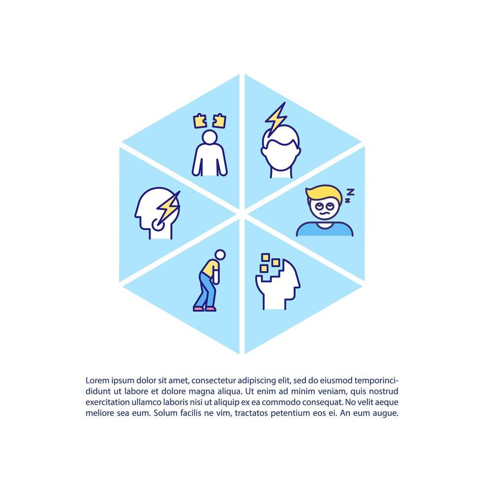 Ícone do conceito de síndrome de fadiga crônica com texto vetor