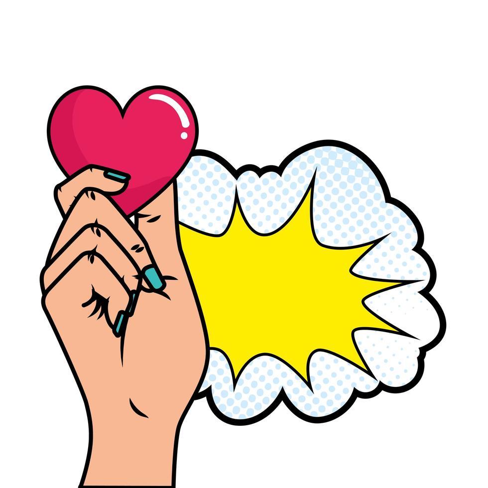 mão com coração e explosão estilo pop art vetor