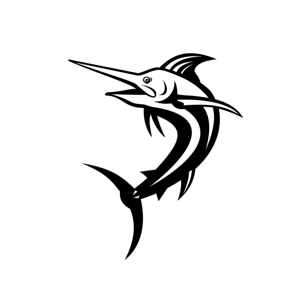 marlin azul atlântico nadando em preto e branco retrô vetor