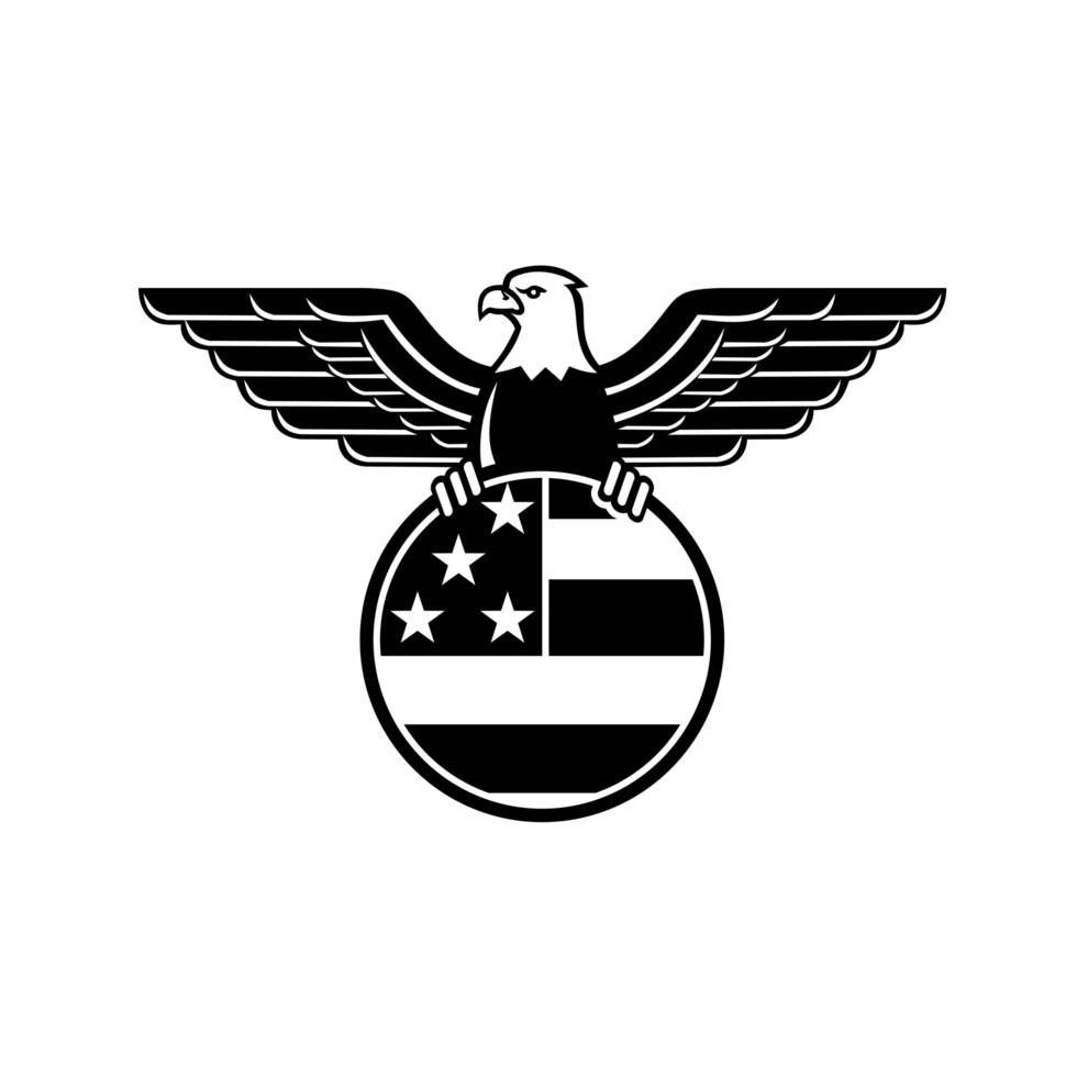 águia-careca americana com asas abertas segurando a bandeira da estrela e listras dos estados unidos no círculo mascote preto e branco vetor