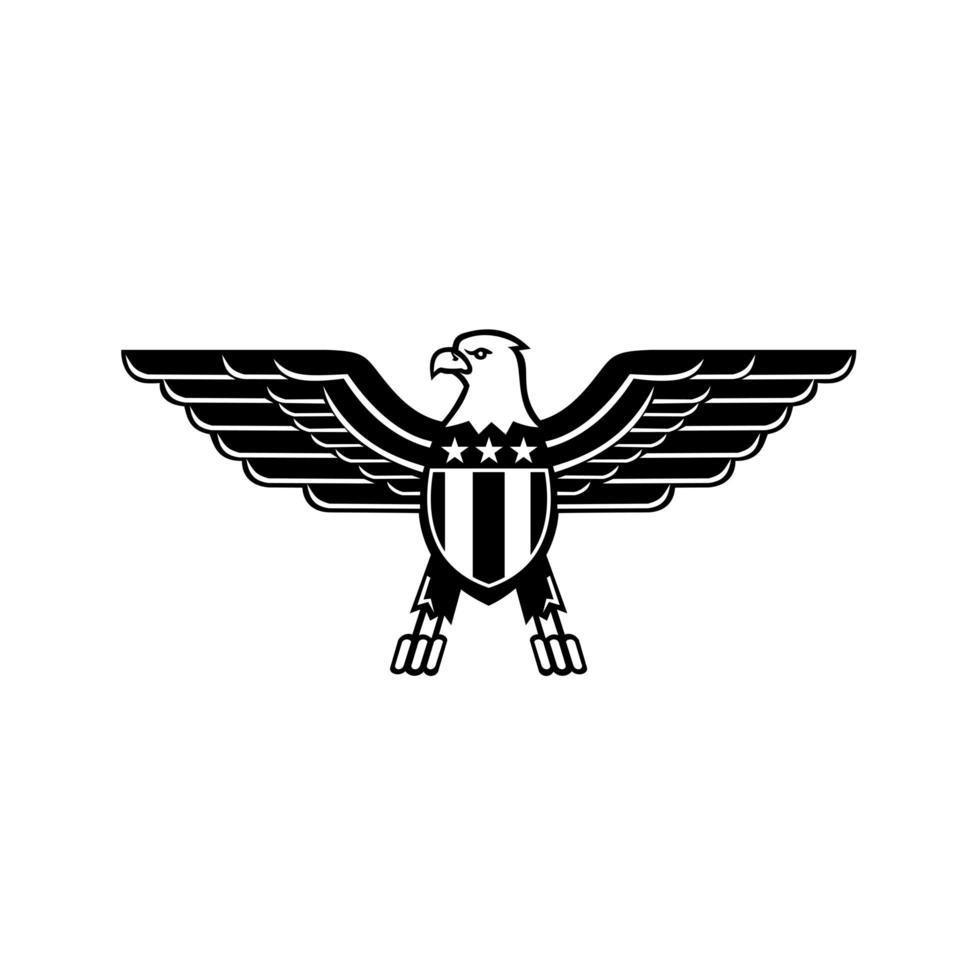 águia careca americana com asas abertas e bandeira dos estados unidos star spangled no peito mascote preto e branco vetor