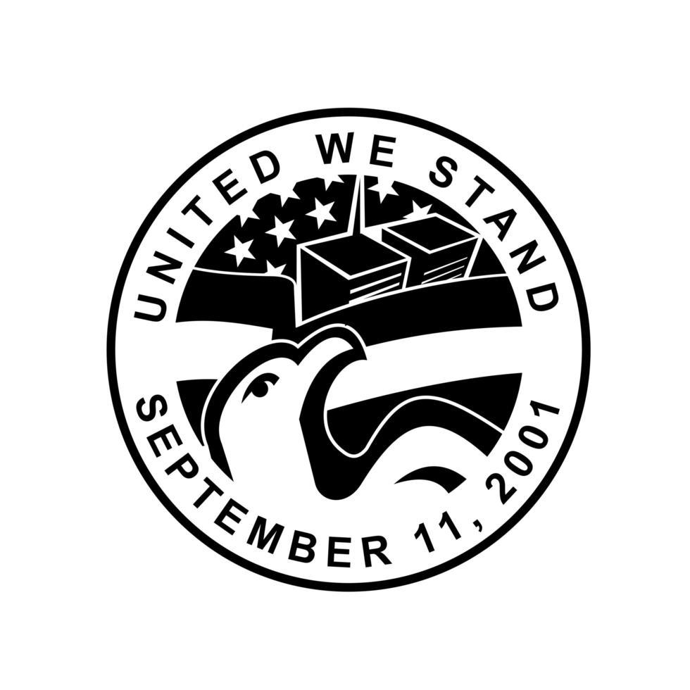 águia americana e wtc construindo círculo de comemoração 911 retrô vetor