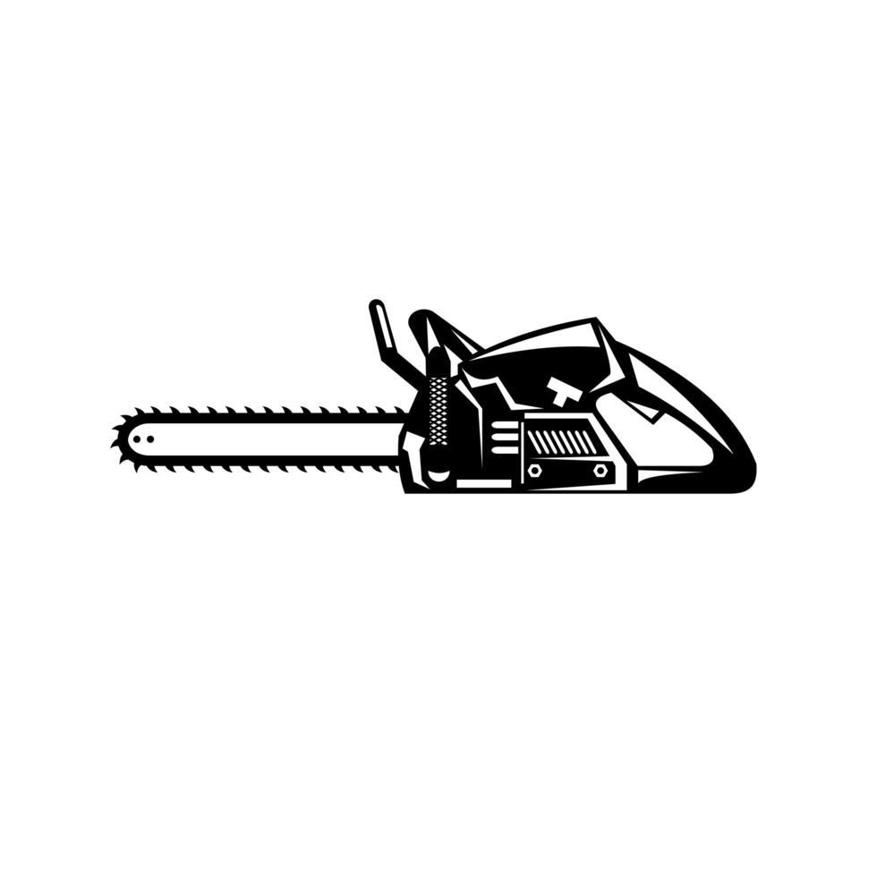 motosserra vista de lado retro preto e branco vetor