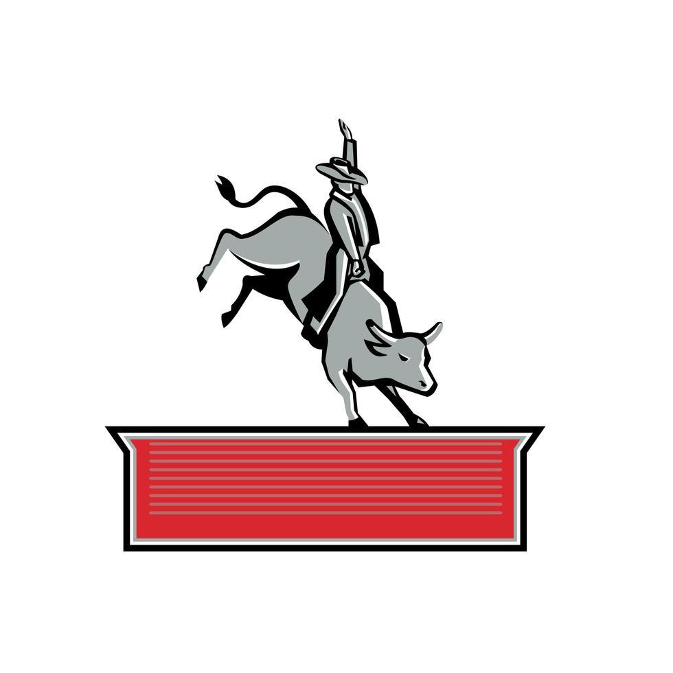 Rodeo Cowboy Bull Rider Texto Banner Retro vetor