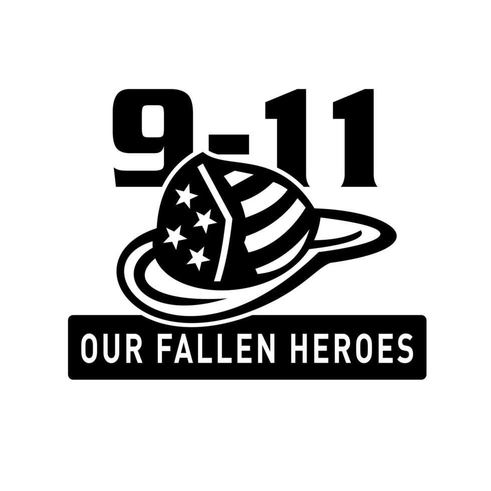 chapéu de bombeiro 911 heróis caídos preto e branco retrô vetor