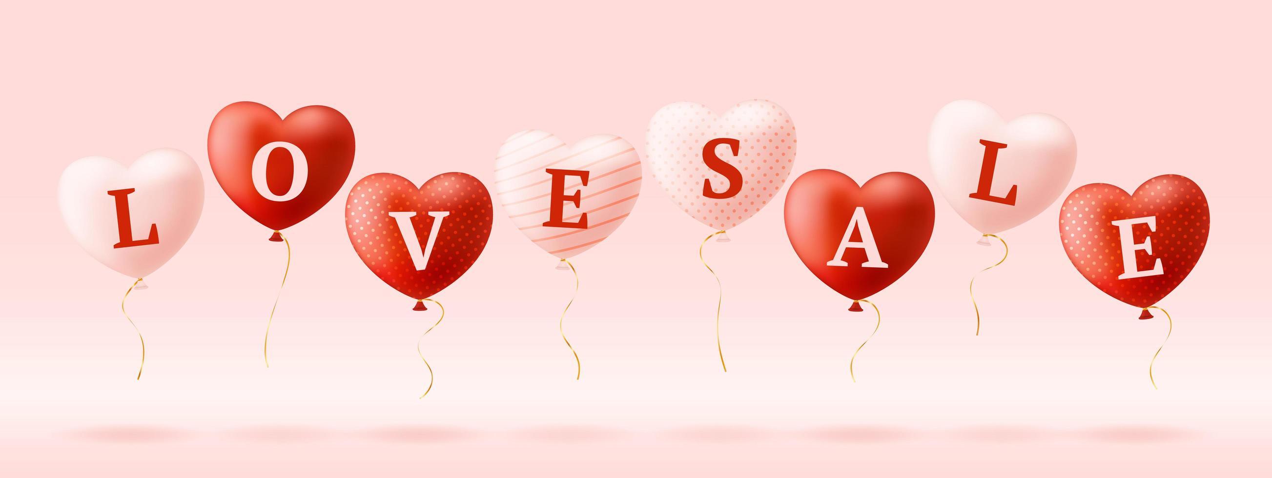 amo a palavra e venda em corações realistas. cartão de dia dos namorados com corações rosa e vermelhos e letras de amor. conceito de venda ou desconto de ilustração vetorial vetor