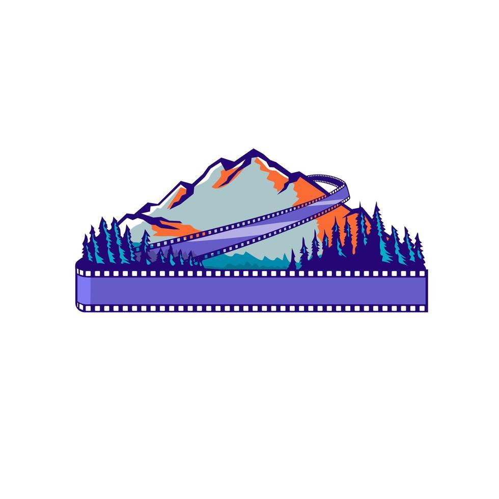 Fluxo filme tira montanha e árvores wpa retro vetor