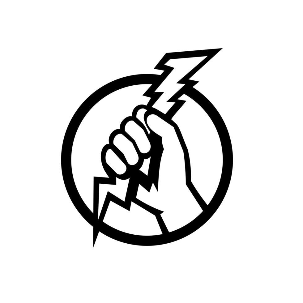 mão de um eletricista segurando um relâmpago retrô preto e branco vetor