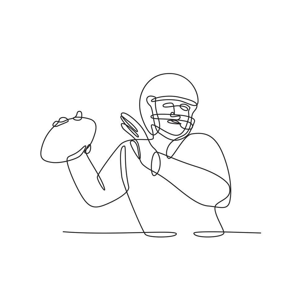 quarterback do futebol americano prestes a lançar a bola desenho de linha contínua vetor
