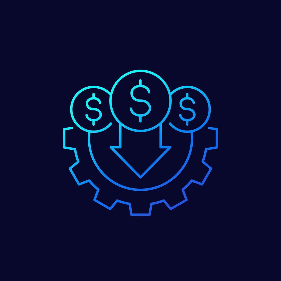 ícone de linha de redução ou diminuição de custo vetor