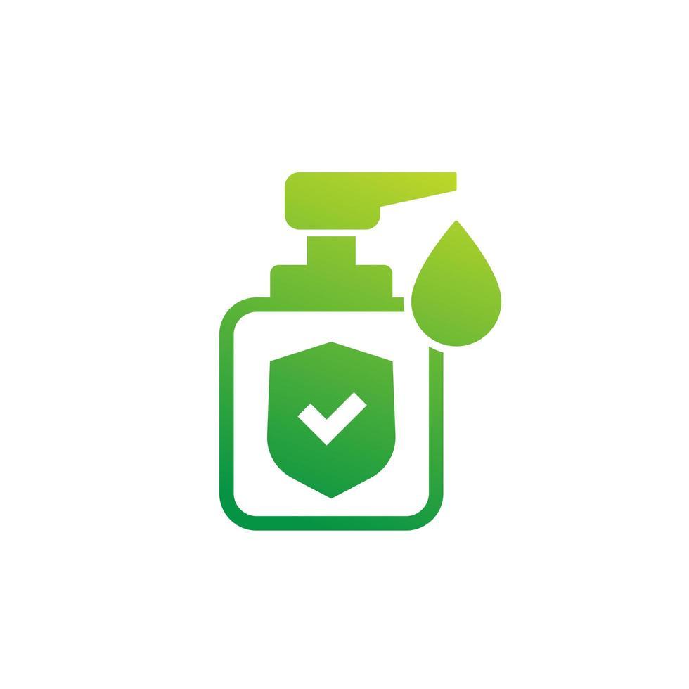 antisséptico, gel antibacteriano, ícone de desinfetante para as mãos em branco vetor