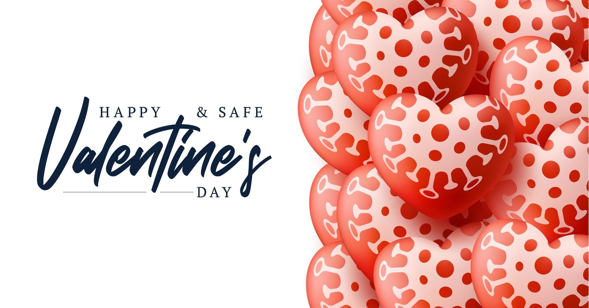 feliz e seguro fundo de venda de dia dos namorados com padrão de coração de balões. loce e ilustração em vetor conceito covid coronavirus. papel de parede, panfletos, convite, cartazes, brochura, banners