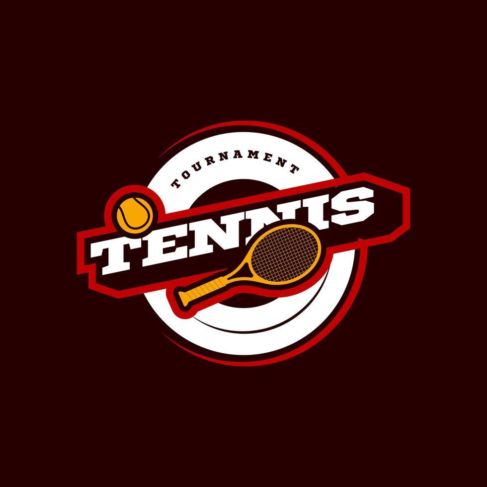 logotipo de tipografia de vetor de tênis moderno esporte profissional em estilo retro. vector design emblema, emblema e modelo desportivo design de logotipo