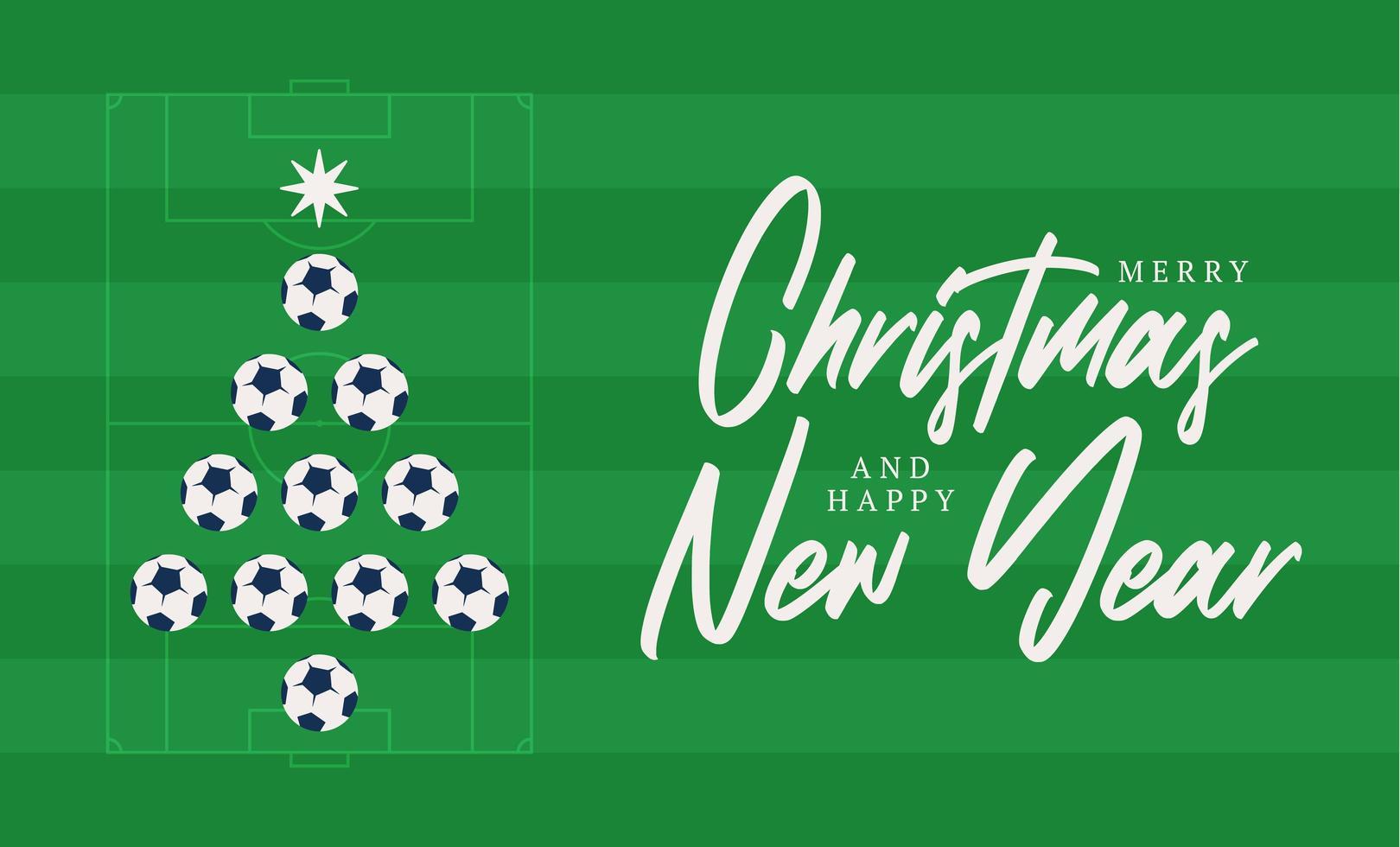 Natal e ano novo cartão plana dos desenhos animados. árvore de Natal criativa feita por bola de futebol de futebol no fundo do campo de futebol para a celebração do Natal e ano novo. cartão do esporte vetor