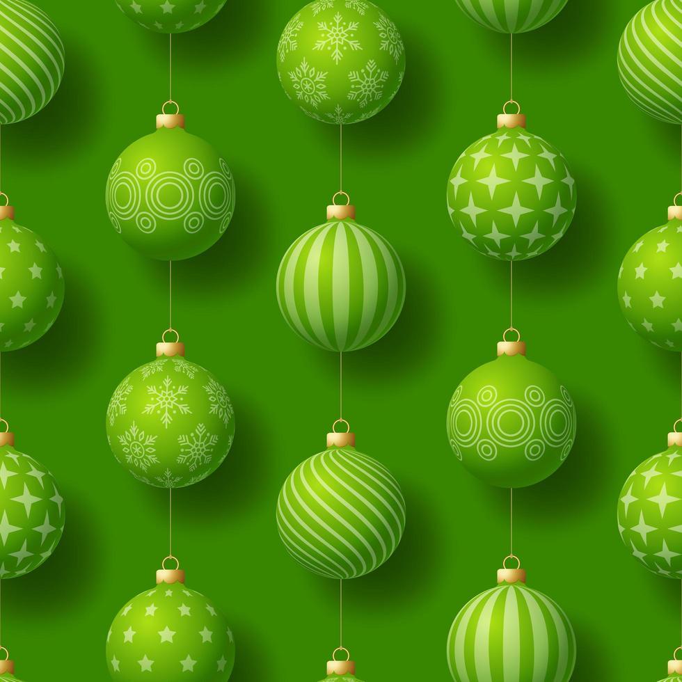 padrão sem emenda de Natal realista com motivos geométricos. Bola de bugiganga verde em ilustração vetorial de padrão de ano novo vetor