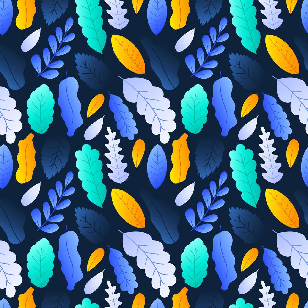 folhas coloridas sem costura padrão fundo estoque ilustração vetorial em fundo escuro vetor