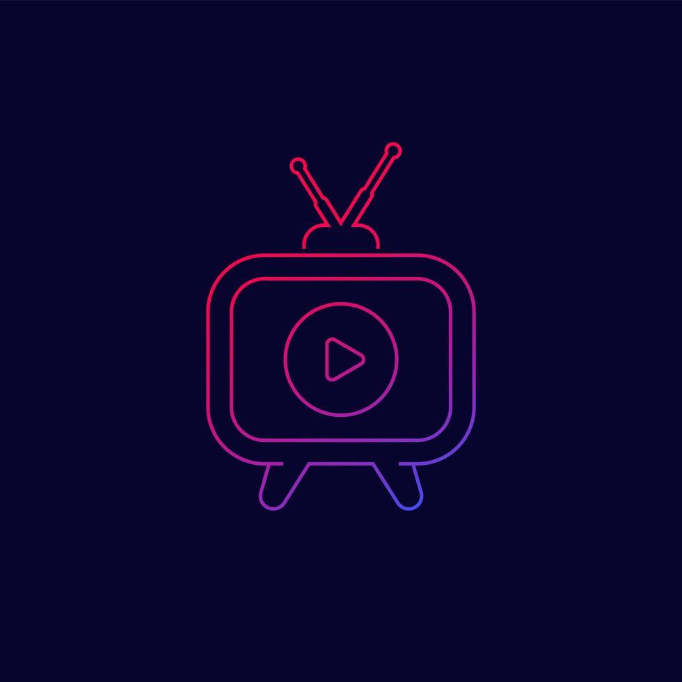 tv com ícone de antena, vetor de linha