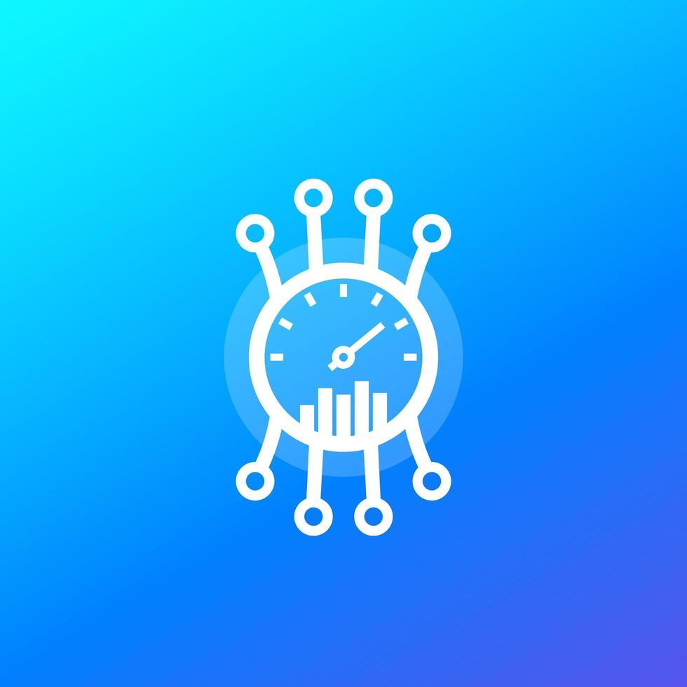 eficiência, ícone do medidor de desempenho, vetor