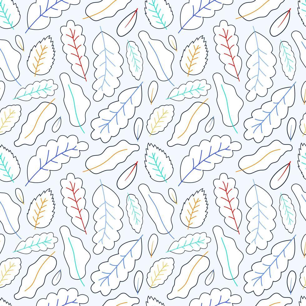 arte de linha deixa ilustração vetorial de estoque de fundo padrão sem emenda vetor