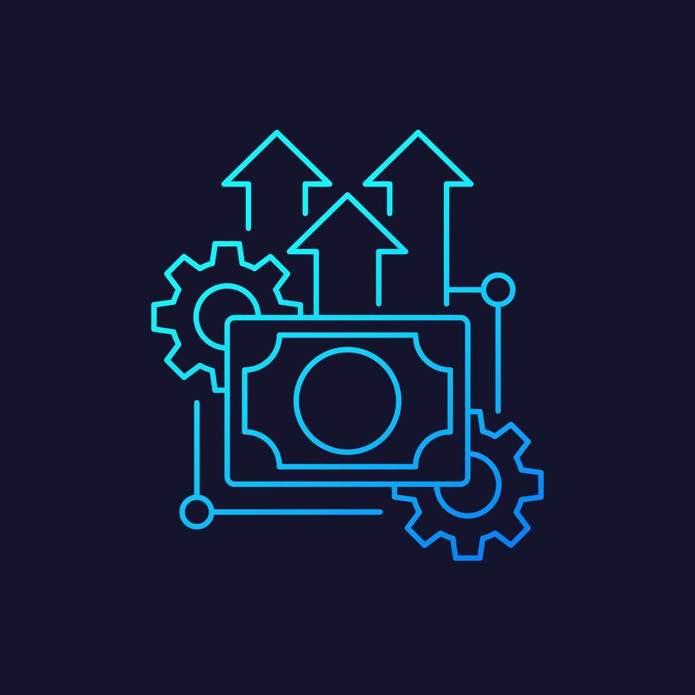 ícone linear de eficiência financeira, vetor