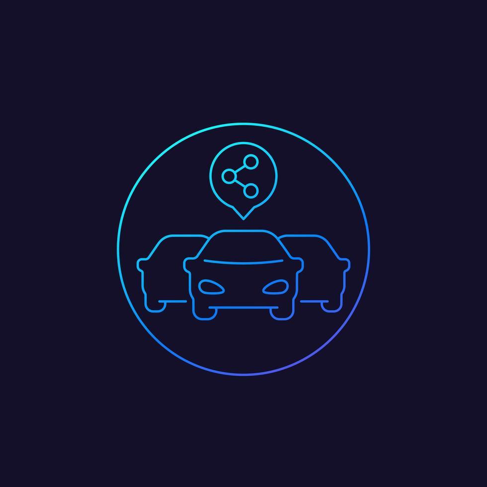 ícone do serviço carsharing com 3 carros, estilo linear vetor