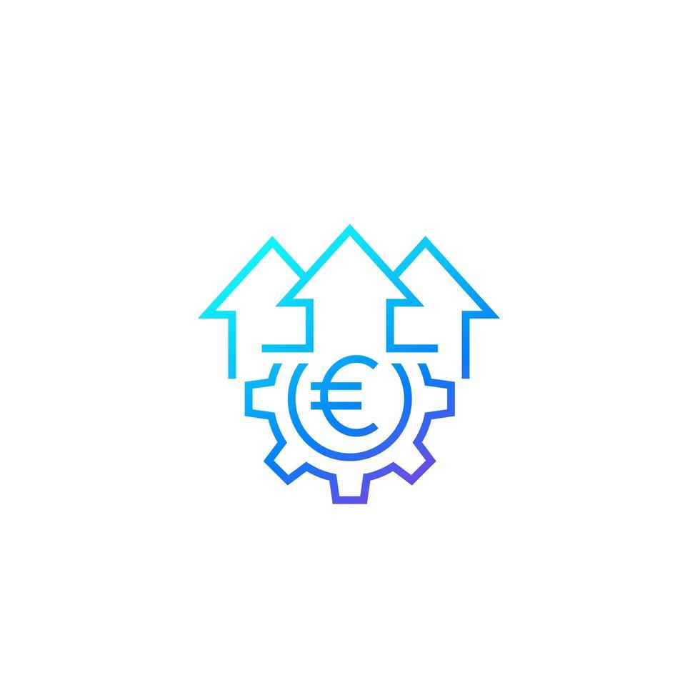 crescimento da eficiência financeira, ícone linear em branco vetor