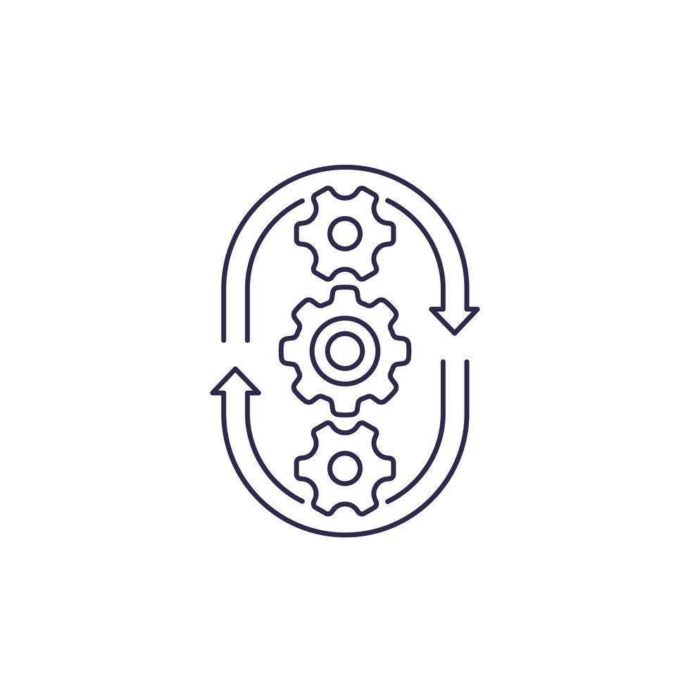 ciclo de produção, ícone de linha de vetor de processo