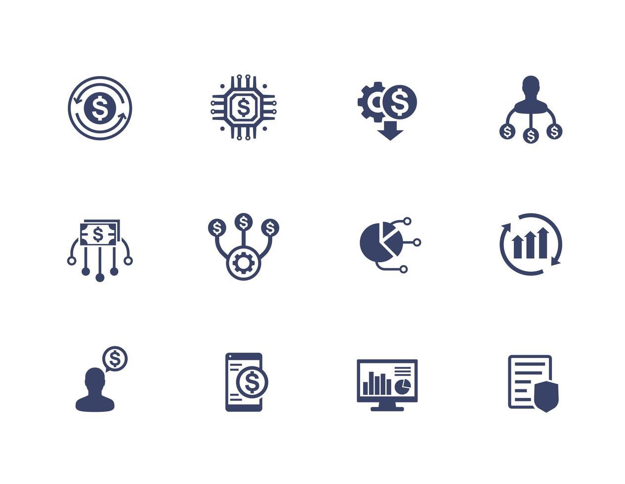 gestão de finanças e ícones de planejamento financeiro definidos em branco vetor