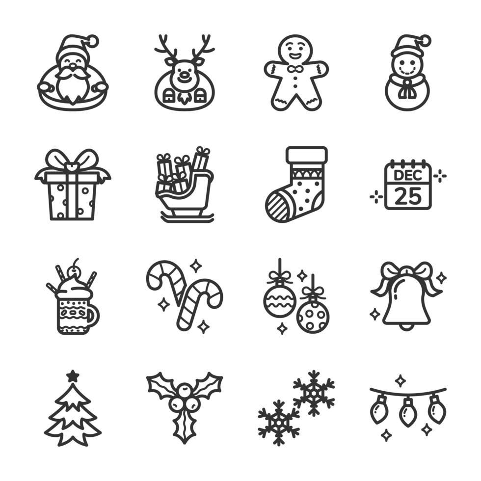 conjunto de ícones do dia de natal vetor